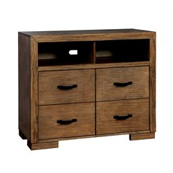 Furniture of America Fletcher 4 Drawer Media Chest in Pine Wood