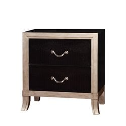 Furniture of America Camie 2 Drawer Faux Leather Nightstand in Silver