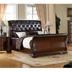 Cheston Tufted Leather Sleigh Bed