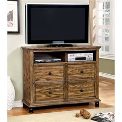 Furniture of America Calvin 4 Drawer Media Chest in Dark Oak