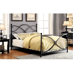 Furniture of America Aurora Queen Metal Bed in Matte Black