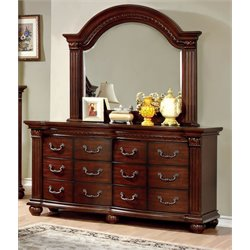 Furniture of America Sorella 6 Drawer Dresser and Mirror Set in Cherry