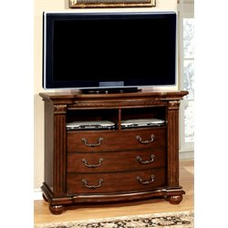 Furniture of America Sorella 3 Drawer Media Chest in Cherry