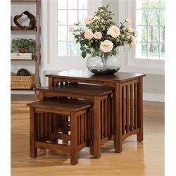 Furniture of America Murray 3 Piece Nesting Table in Vintage Oak
