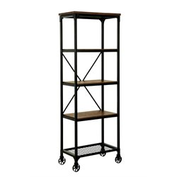 Furniture of America Guillory 5 Shelf Industrial Bookcase with Casters