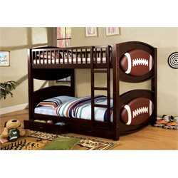 Furniture of America Felip Football Bunk Bed in Dark Walnut