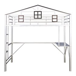 Furniture of America Nelson Metal Loft Bunk Bed in Chocolate and White