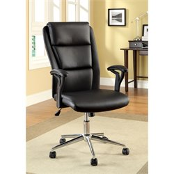 Furniture of America Lynn Leather Office Chair in Black