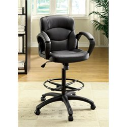 Furniture of America Elyse Adjustable Leather Office Chair in Black