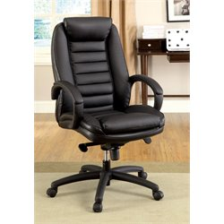 Furniture of America Rory Adjustable Leather Office Chair in Black