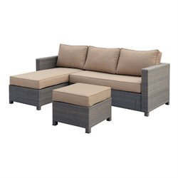 Furniture of America Wiley 3 Piece Patio Wicker Sectional in Gray