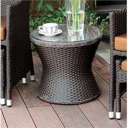 Furniture of America Matson Patio Wicker Round End Table in Espresso