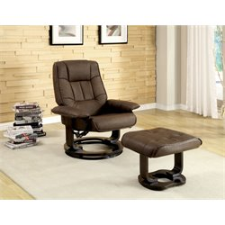 Furniture of America Whitby Swivel Leather Lounge Chair with Ottoman