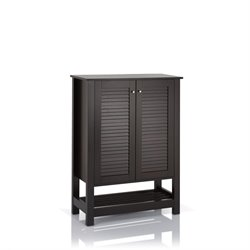 Furniture of America Kaila Slatted Shoe Cabinet in Cappuccino