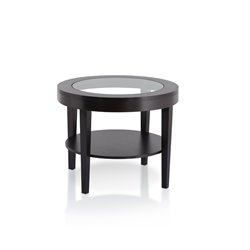Furniture of America Ringa Round End Table in Cappuccino