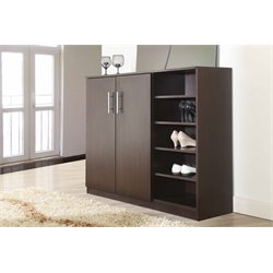 Furniture of America Bert Modern Shoe Cabinet in Walnut
