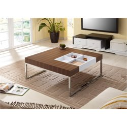 Furniture of America Taylor Square Coffee Table with Tray in Walnut
