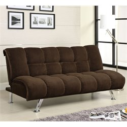 Furniture of America Hannigan Plush Corduroy Futon in Chocolate