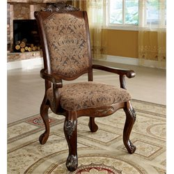 Furniture of America Fellin Arm Chair in Antique Cherry (Set of 2)