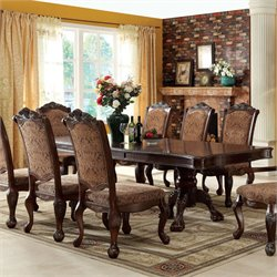 Furniture of America Fellin Expandable Dining Table in Antique Cherry