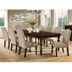 Furniture of America Minard 9 Piece Dining Set in Antique Cherry