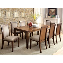 Furniture of America Lydon 9 Piece Dining Set in Walnut