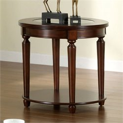 Furniture of America Chrinus Round End Table in Dark cherry