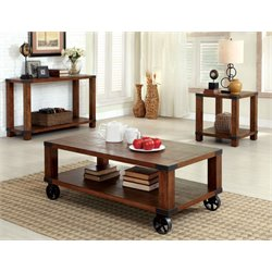 Furniture of America Jacqueline 3 Piece Coffee Table Set in Dark Oak