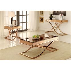 Furniture of America Xander 3 Piece Coffee Table Set in Gold