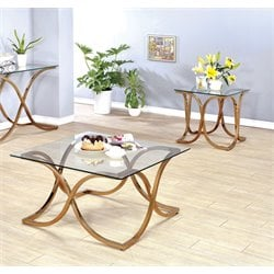 Sarif Coffee Table Set in Champagne