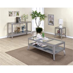 Jaxan Coffee Table Set in Silver