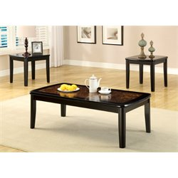 Furniture of America Benziley 3 Piece Coffee Table Set in Black