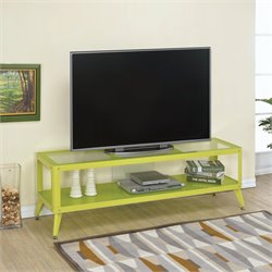 Elton Modern Metal TV Stand in Apple Green
