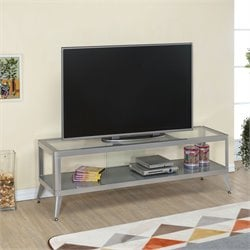 Elton Modern Metal TV Stand in Silver
