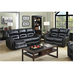 Stinson Leatherette Recliner Set in Black