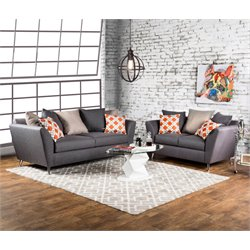 Furniture of America Marmelo 2 Piece Fabric Sofa Set in Gray
