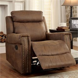 Furniture of America Malm Fabric Recliner in Brown