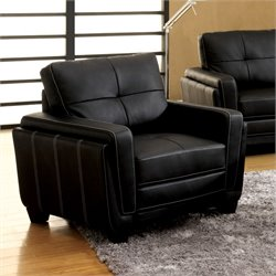 Furniture of America Hainter Leatherette Recliner in Black
