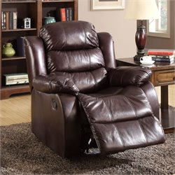 Furniture of America Anchester Padded Recliner in Dark Brown