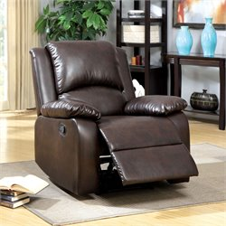 Furniture of America Bantell Leatherette Recliner in Rustic Dark Brown