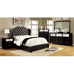 Harla 4 Piece Bedroom Set in Black