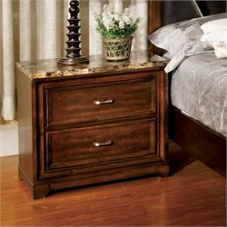 Furniture of America Laundrean 2 Drawer Nightstand in Antique Oak