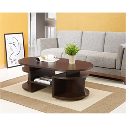 Furniture of America Chancelor Oval Coffee Table in Walnut