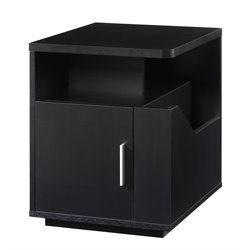 Furniture of America Kiara Magazine Rack End Table in Black