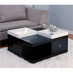 Furniture of America Stein Coffee Table with Trays in Black