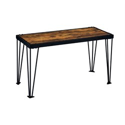 Furniture of America Eagles Metal Console Table in Burnt Wood