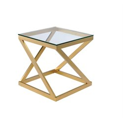 Furniture of America Emondee Square Metal Glass Top End Table in Gold