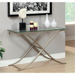Furniture of America Sainez Glass Top Console Table in Champagne