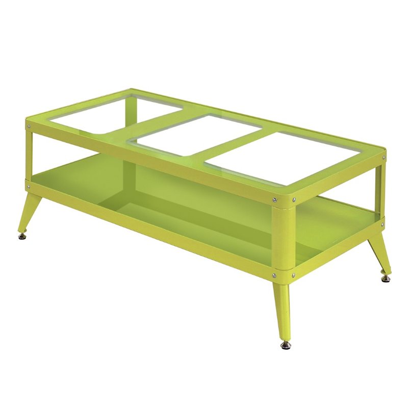 Furniture of america jaxan metal glass top coffee table in for Furniture 888 formerly green apple