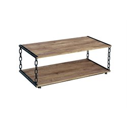Furniture of America Larocque Coffee Table in Black and Brushed Silver